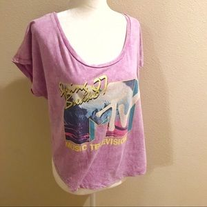 3/$20 MTV retro 80s style purple tee top XL